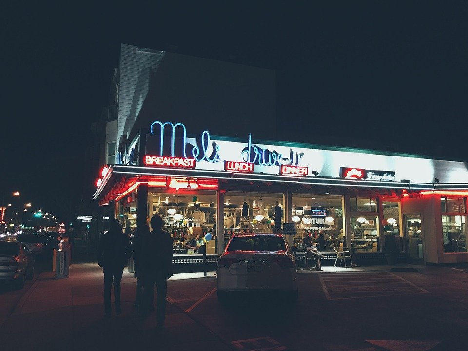 Restaurant, Diner, Drive-In, Neon, Sign, Night, Dark