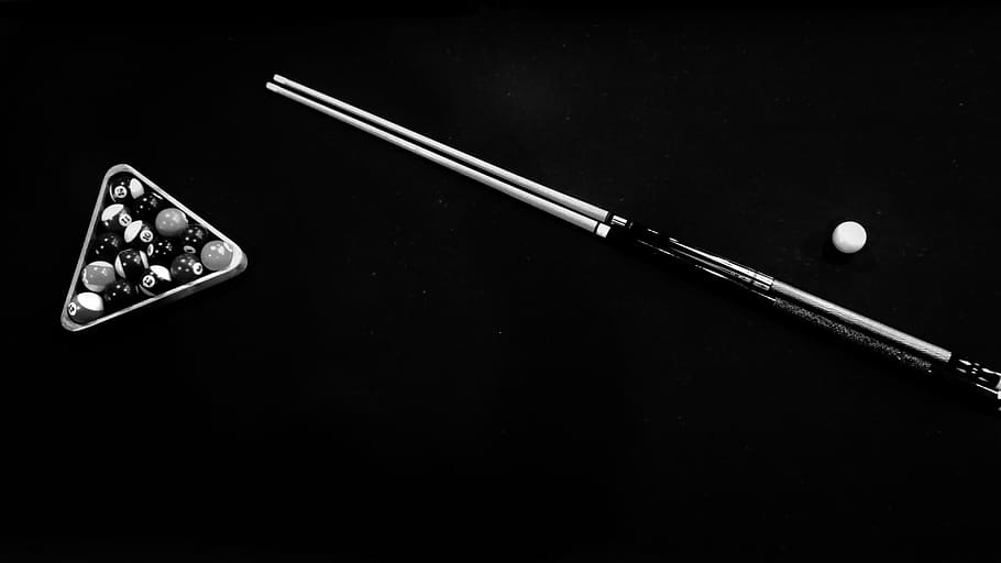 grayscale photo, billiard balls, inside, billiard rack, cue, stick, ball, stainless, steel, billiard, set, table, balls, sport, game, no people, black background, indoors, close-up, day, arts culture and entertainment, leisure activity, studio shot, accuracy, activity, still life, copy space, healthcare and medicine, playing, equipment, cut out, geometric shape, communication, leisure games, 5K, CC0, public domain, royalty free